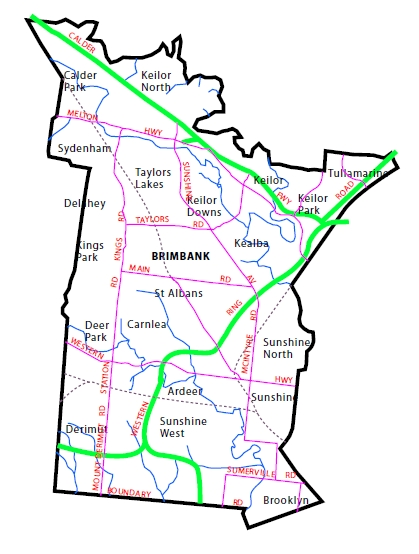 Map of Brimbank District