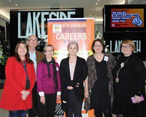 BMLLEN staff (L-R) Di Debrincat, Robin Lockington, Lea Lucas, Jess Pace (SWL student), Maria Cox & Deirdre Hardy at the 2018 Careers Fair